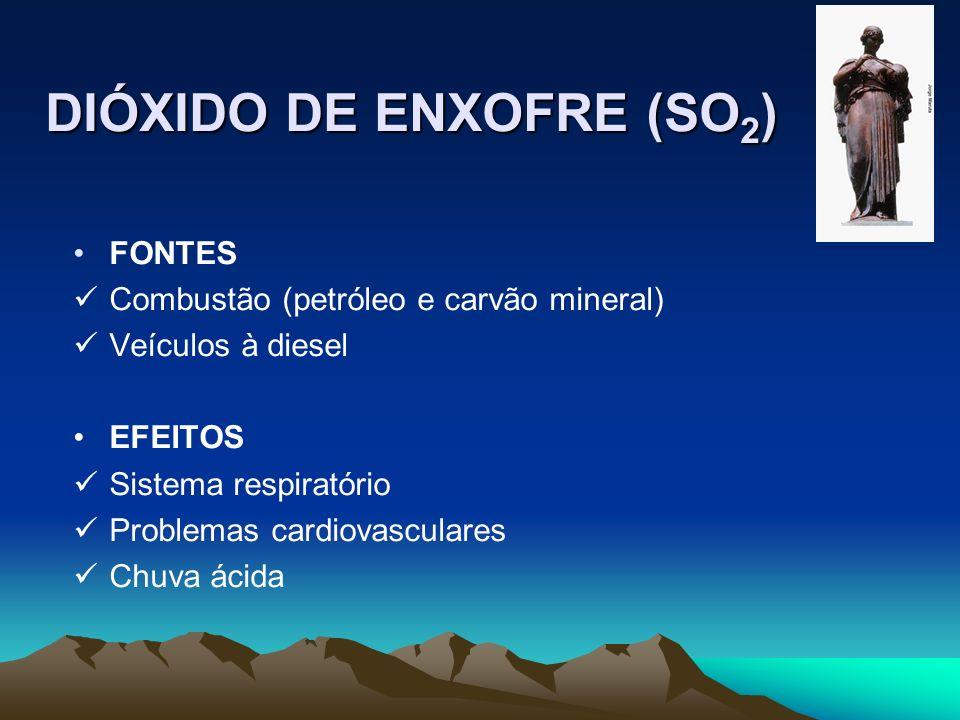 DIÓXIDO DE ENXOFRE (SO 2 ) FONTES Combustão (petróleo e carvão mineral) Veículos à diesel EFEITOS Sistema respiratório Problemas cardiovasculares Chuv