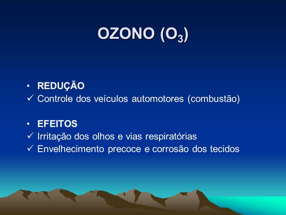 OZONO (O 3 ) REDUÇÃO Controle dos veículos automotores (combustão) EFEITOS Irritação dos olhos e vias respiratórias Envelhecimento precoce e corrosão