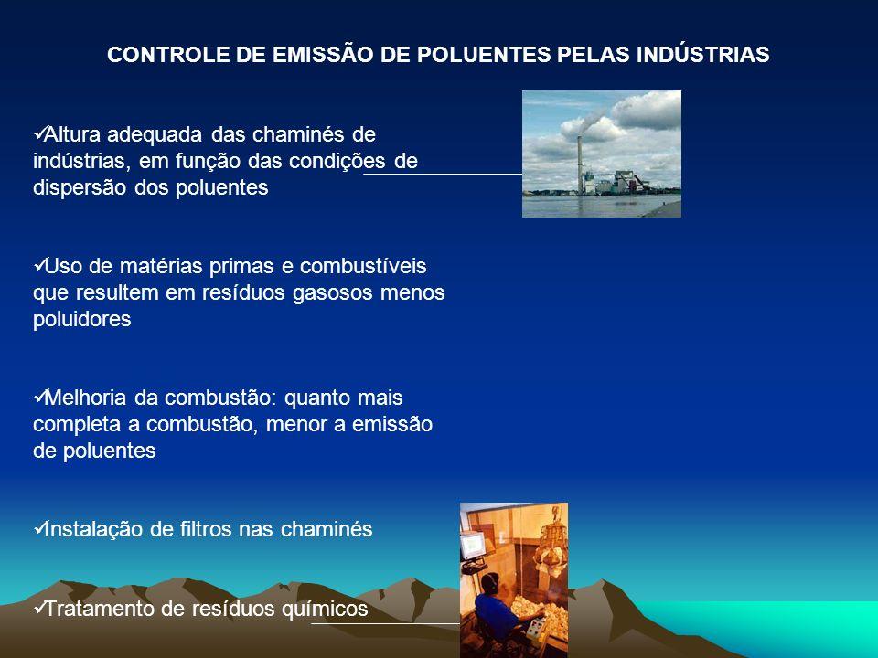 CONTROLE DE EMISSÃO DE POLUENTES PELAS INDÚSTRIAS Altura adequada das chaminés de indústrias, em função das condições de dispersão dos poluentes Uso d