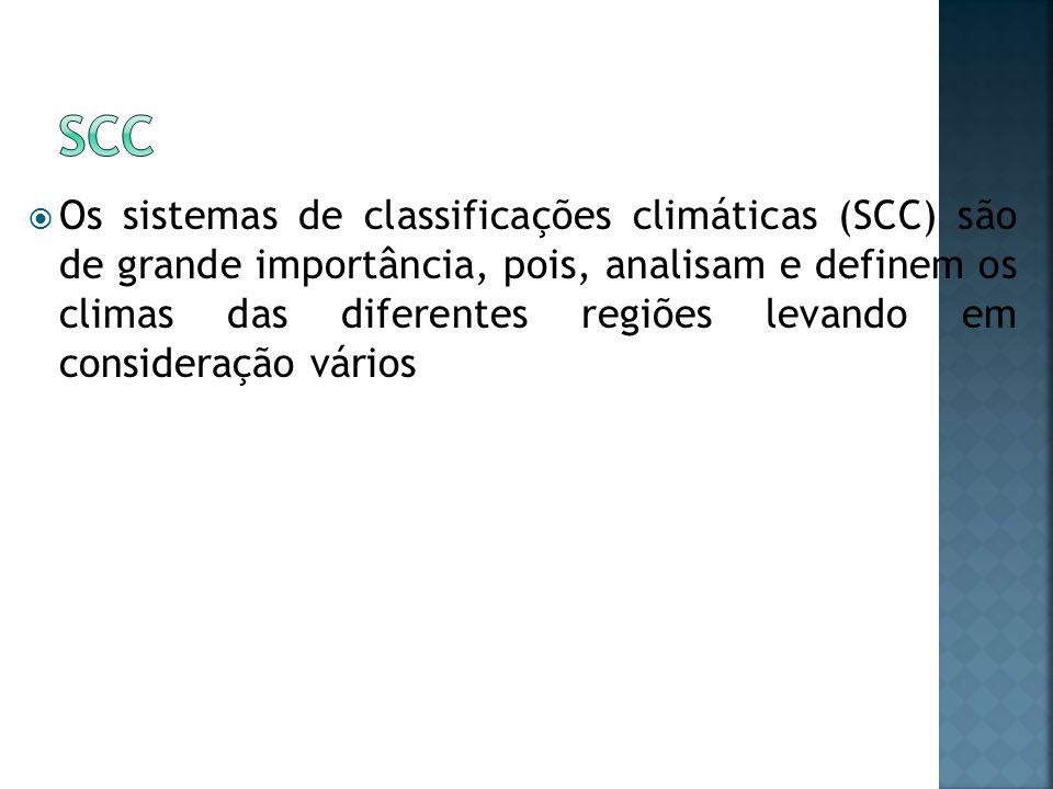 Os sistemas de classificações climáticas (SCC) são de grande importância, pois, analisam e definem os climas das diferentes regiões levando em conside