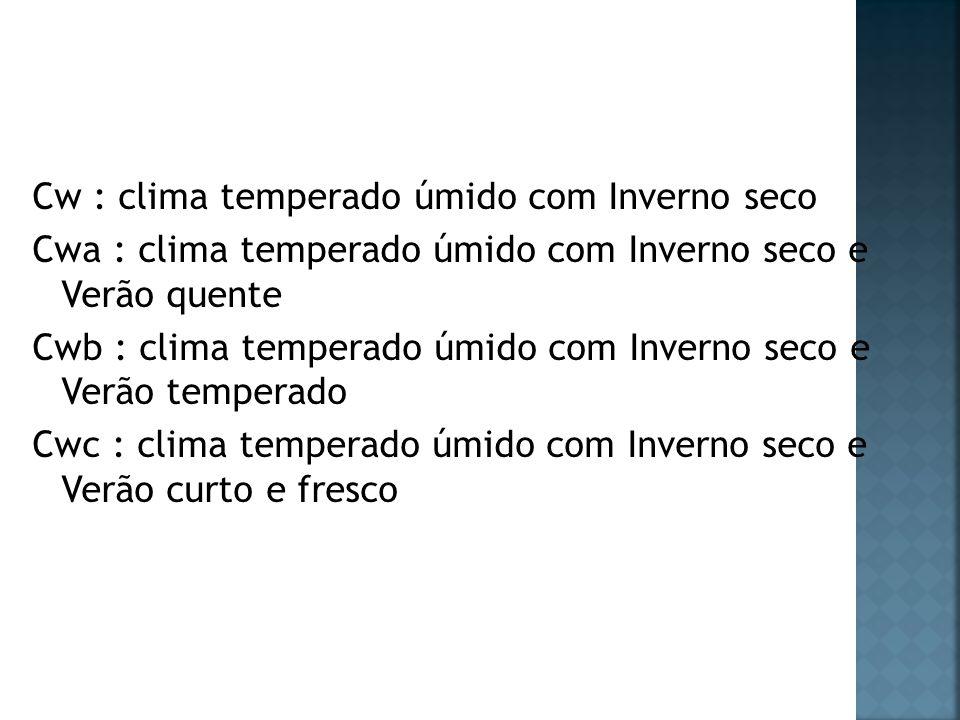 Cw : clima temperado úmido com Inverno seco Cwa : clima temperado úmido com Inverno seco e Verão quente Cwb : clima temperado úmido com Inverno seco e