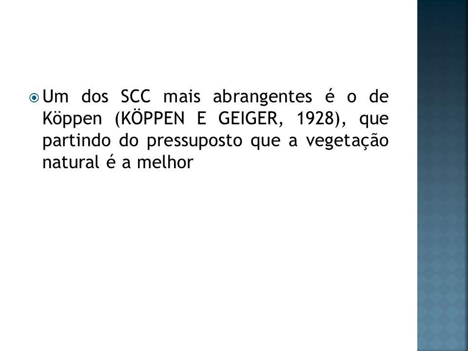 Um dos SCC mais abrangentes é o de Köppen (KÖPPEN E GEIGER, 1928), que partindo do pressuposto que a vegetação natural é a melhor