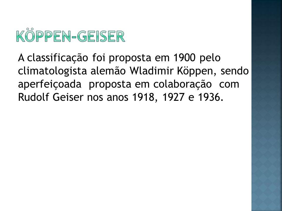 A classificação foi proposta em 1900 pelo climatologista alemão Wladimir Köppen, sendo aperfeiçoada proposta em colaboração com Rudolf Geiser nos anos