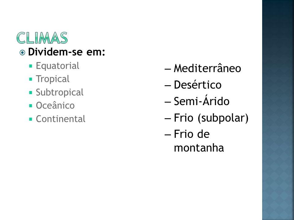 Dividem-se em: Equatorial Tropical Subtropical Oceânico Continental – Mediterrâneo – Desértico – Semi-Árido – Frio (subpolar) – Frio de montanha