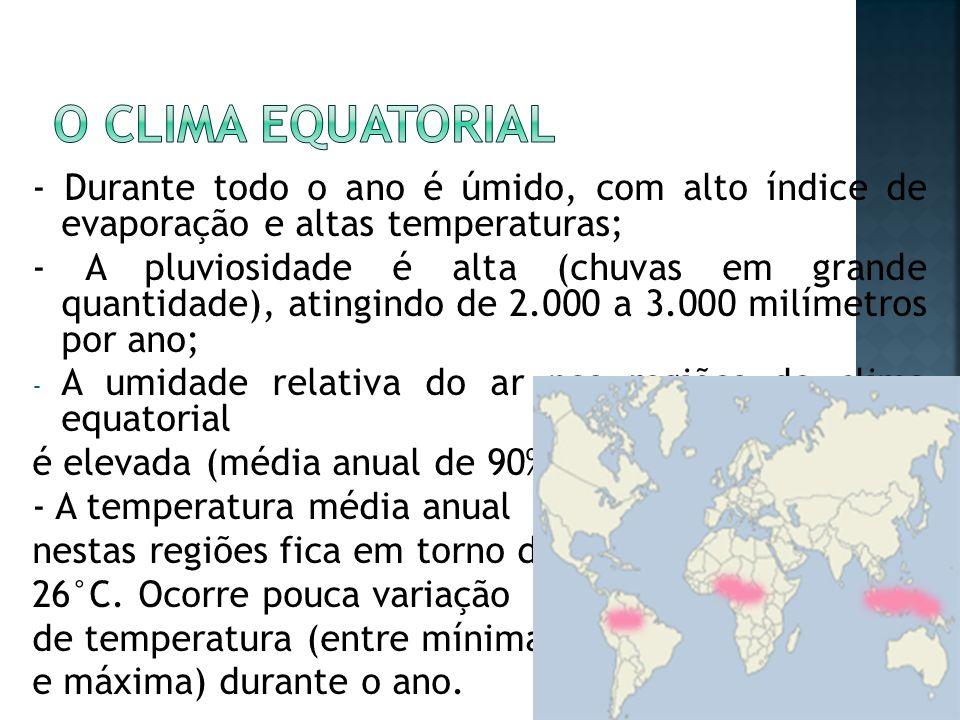 - Durante todo o ano é úmido, com alto índice de evaporação e altas temperaturas; - A pluviosidade é alta (chuvas em grande quantidade), atingindo de