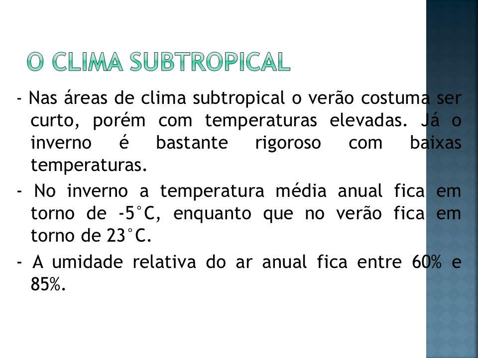 - Nas áreas de clima subtropical o verão costuma ser curto, porém com temperaturas elevadas. Já o inverno é bastante rigoroso com baixas temperaturas.