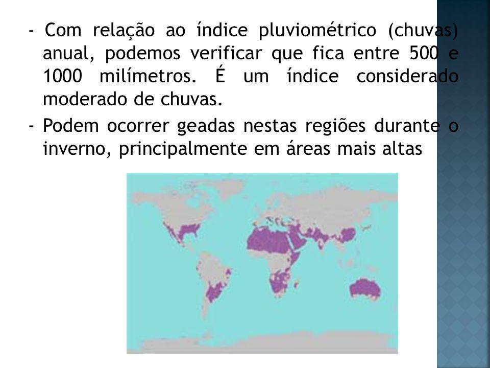 - Com relação ao índice pluviométrico (chuvas) anual, podemos verificar que fica entre 500 e 1000 milímetros. É um índice considerado moderado de chuv