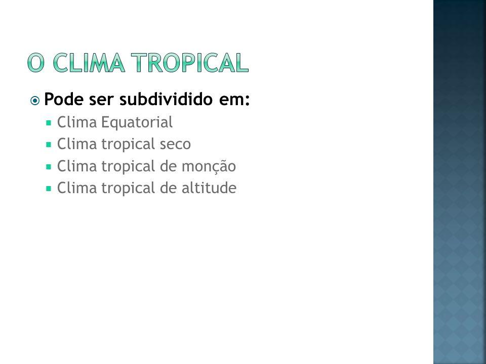 Pode ser subdividido em: Clima Equatorial Clima tropical seco Clima tropical de monção Clima tropical de altitude