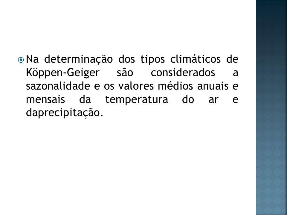 Na determinação dos tipos climáticos de Köppen-Geiger são considerados a sazonalidade e os valores médios anuais e mensais da temperatura do ar e dapr