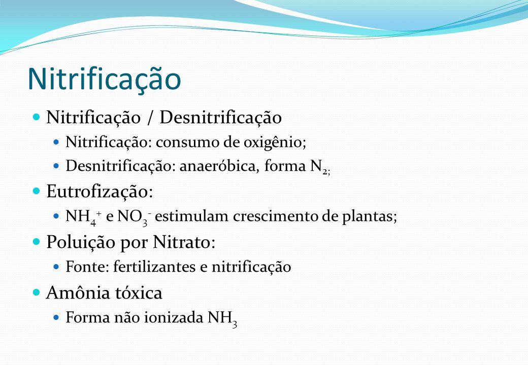 Nitrificação / Desnitrificação Nitrificação: consumo de oxigênio; Desnitrificação: anaeróbica, forma N 2; Eutrofização: NH 4 + e NO 3 - estimulam cres
