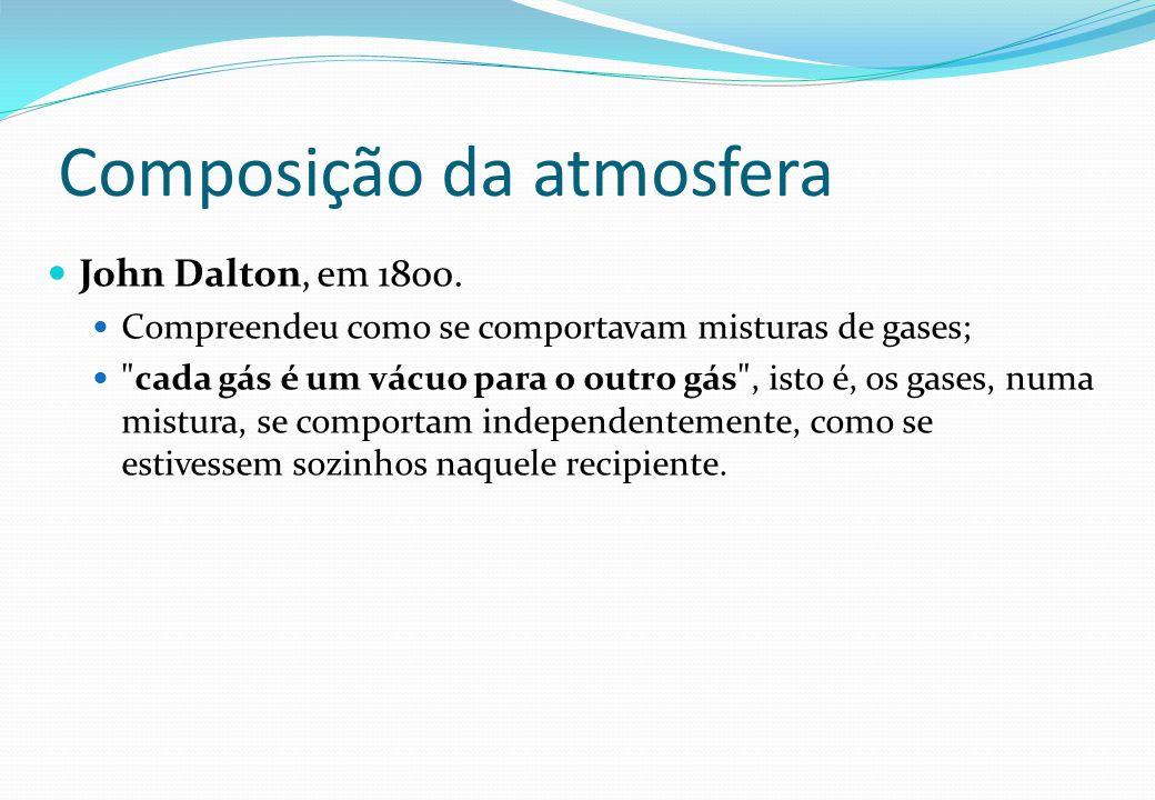 Composição da atmosfera John Dalton, em 1800. Compreendeu como se comportavam misturas de gases;