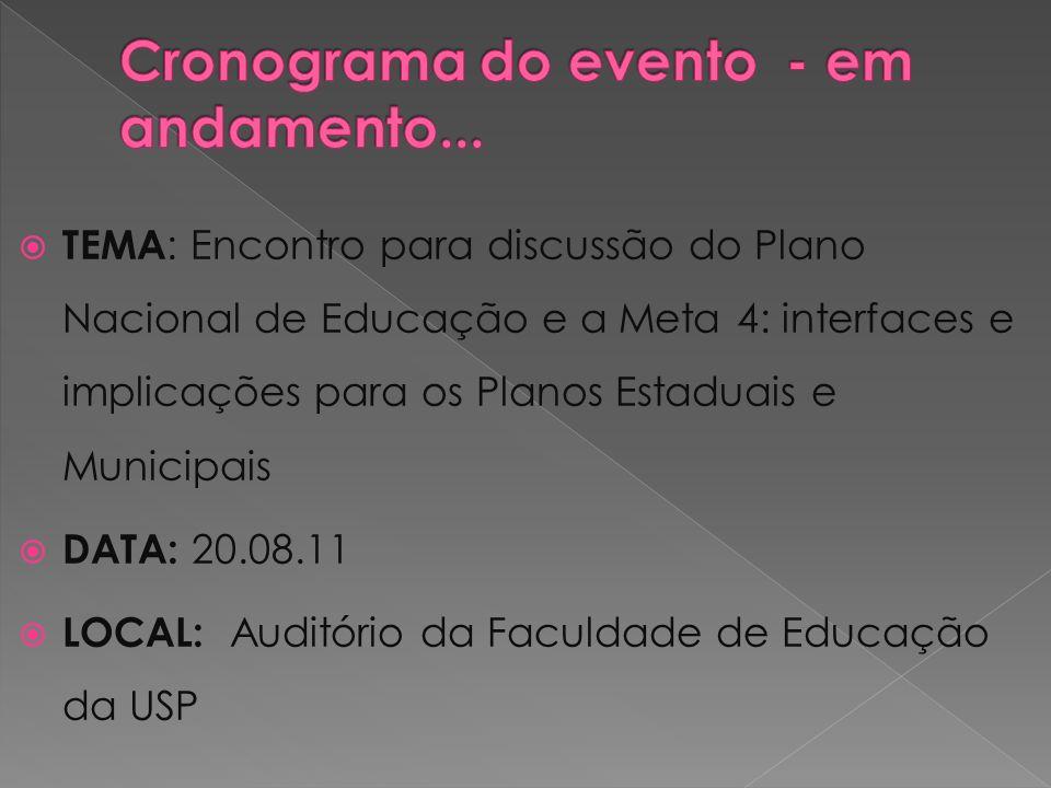 08h45 /9h30 Abertura e fala da Lizete Arelaro sobre o PNE 9h30 /10h30 Apresentação dos Fóruns Regionais e como foi a discussão da Meta 4 - Vale do Paraíba - Baixada Santista - Alto Tietê - ABC - Oeste