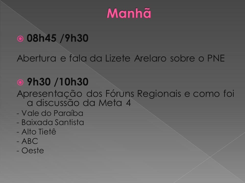 08h45 /9h30 Abertura e fala da Lizete Arelaro sobre o PNE 9h30 /10h30 Apresentação dos Fóruns Regionais e como foi a discussão da Meta 4 - Vale do Par