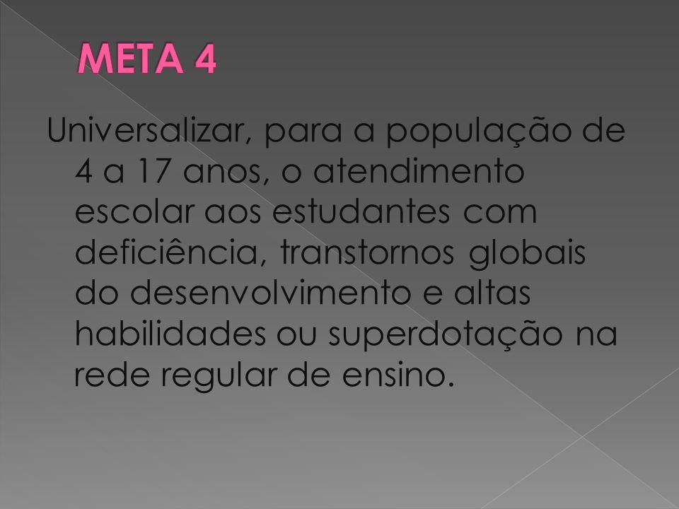 Universalizar, para a população de 4 a 17 anos, o atendimento escolar aos estudantes com deficiência, transtornos globais do desenvolvimento e altas h
