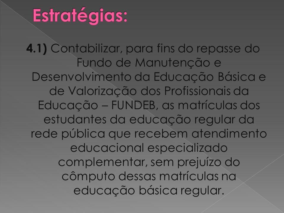 4.1) Contabilizar, para fins do repasse do Fundo de Manutenção e Desenvolvimento da Educação Básica e de Valorização dos Profissionais da Educação – F