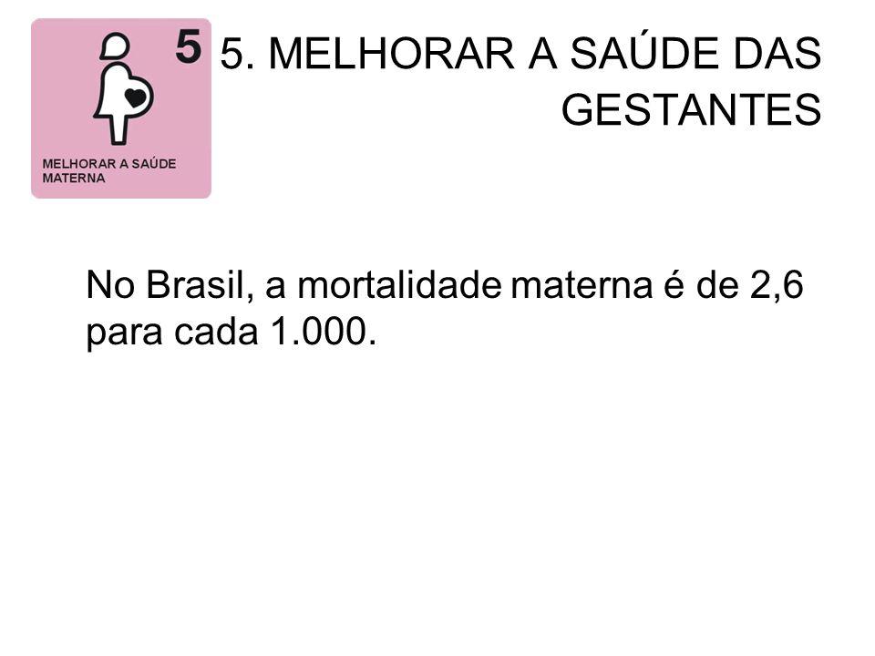 5. MELHORAR A SAÚDE DAS GESTANTES No Brasil, a mortalidade materna é de 2,6 para cada 1.000.