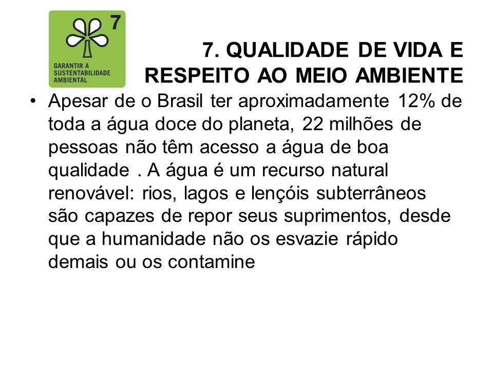 7. QUALIDADE DE VIDA E RESPEITO AO MEIO AMBIENTE Apesar de o Brasil ter aproximadamente 12% de toda a água doce do planeta, 22 milhões de pessoas não