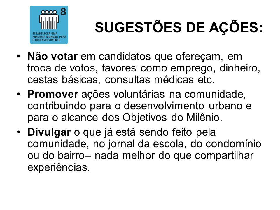 SUGESTÕES DE AÇÕES: Não votar em candidatos que ofereçam, em troca de votos, favores como emprego, dinheiro, cestas básicas, consultas médicas etc. Pr