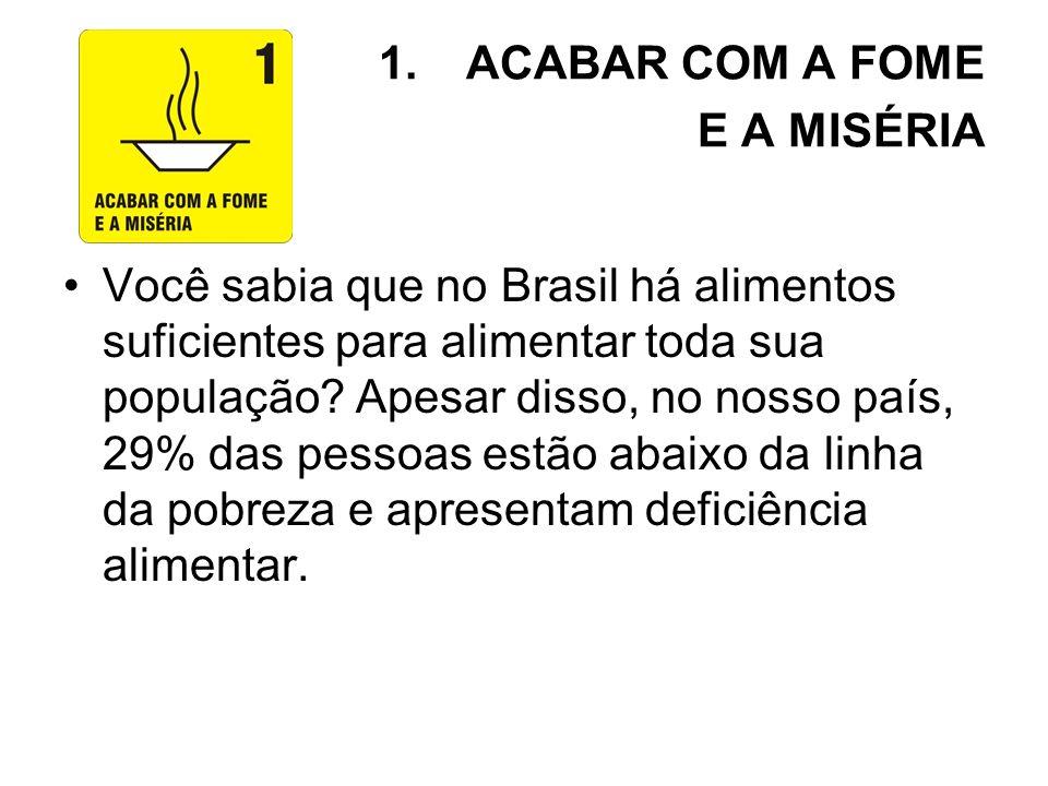 1.ACABAR COM A FOME E A MISÉRIA Você sabia que no Brasil há alimentos suficientes para alimentar toda sua população? Apesar disso, no nosso país, 29%
