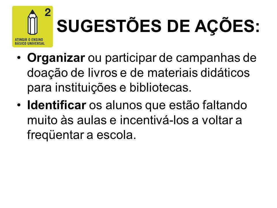 SUGESTÕES DE AÇÕES: Organizar ou participar de campanhas de doação de livros e de materiais didáticos para instituições e bibliotecas. Identificar os