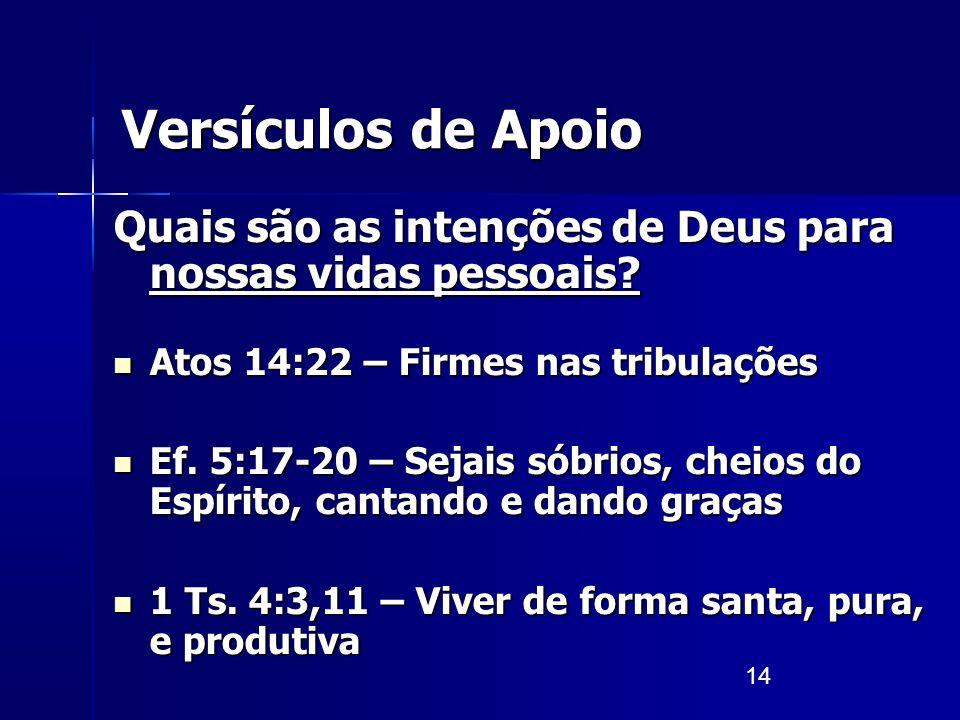 14 Versículos de Apoio Quais são as intenções de Deus para nossas vidas pessoais? Atos 14:22 – Firmes nas tribulações Atos 14:22 – Firmes nas tribulaç