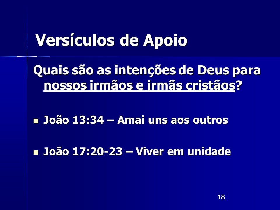 18 Versículos de Apoio Quais são as intenções de Deus para nossos irmãos e irmãs cristãos? João 13:34 – Amai uns aos outros João 13:34 – Amai uns aos