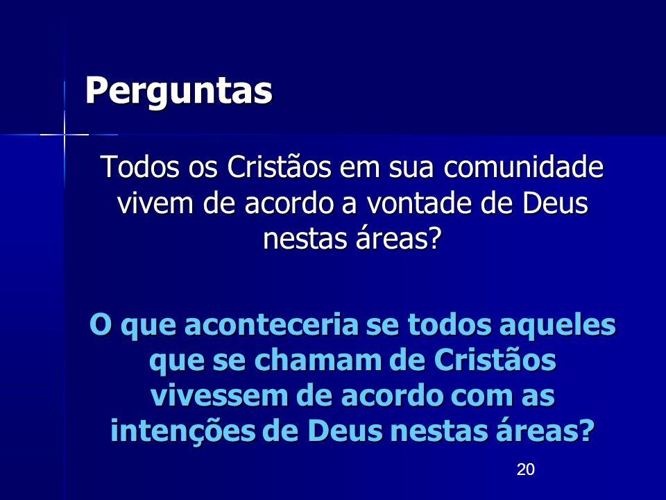 20 Perguntas Todos os Cristãos em sua comunidade vivem de acordo a vontade de Deus nestas áreas? O que aconteceria se todos aqueles que se chamam de C