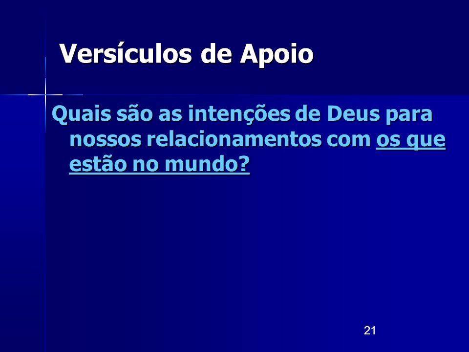 21 Versículos de Apoio Quais são as intenções de Deus para nossos relacionamentos com os que estão no mundo?