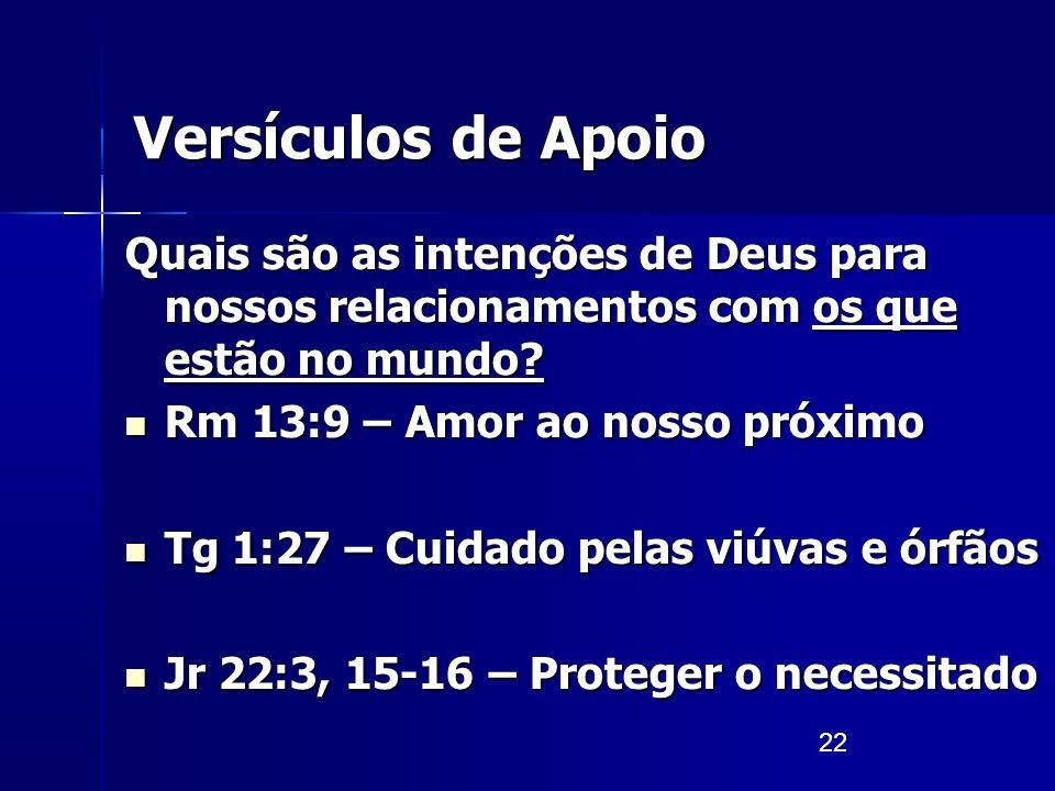 22 Versículos de Apoio Quais são as intenções de Deus para nossos relacionamentos com os que estão no mundo? Rm 13:9 – Amor ao nosso próximo Rm 13:9 –