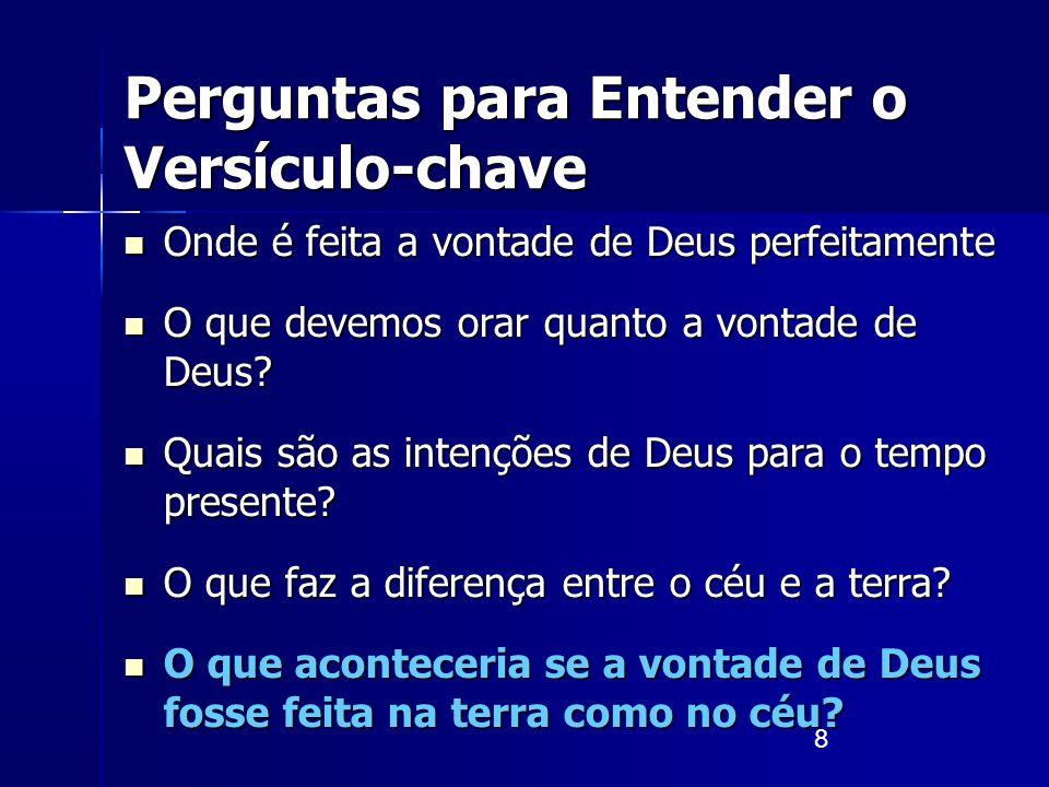 8 Perguntas para Entender o Versículo-chave Onde é feita a vontade de Deus perfeitamente Onde é feita a vontade de Deus perfeitamente O que devemos or