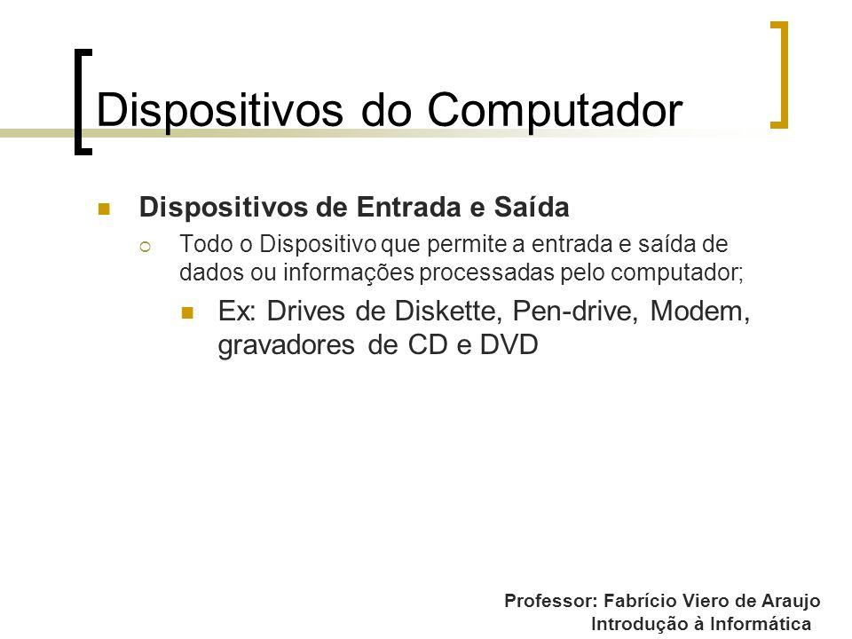 Professor: Fabrício Viero de Araujo Introdução à Informática Dispositivos do Computador Dispositivos de Entrada e Saída Todo o Dispositivo que permite
