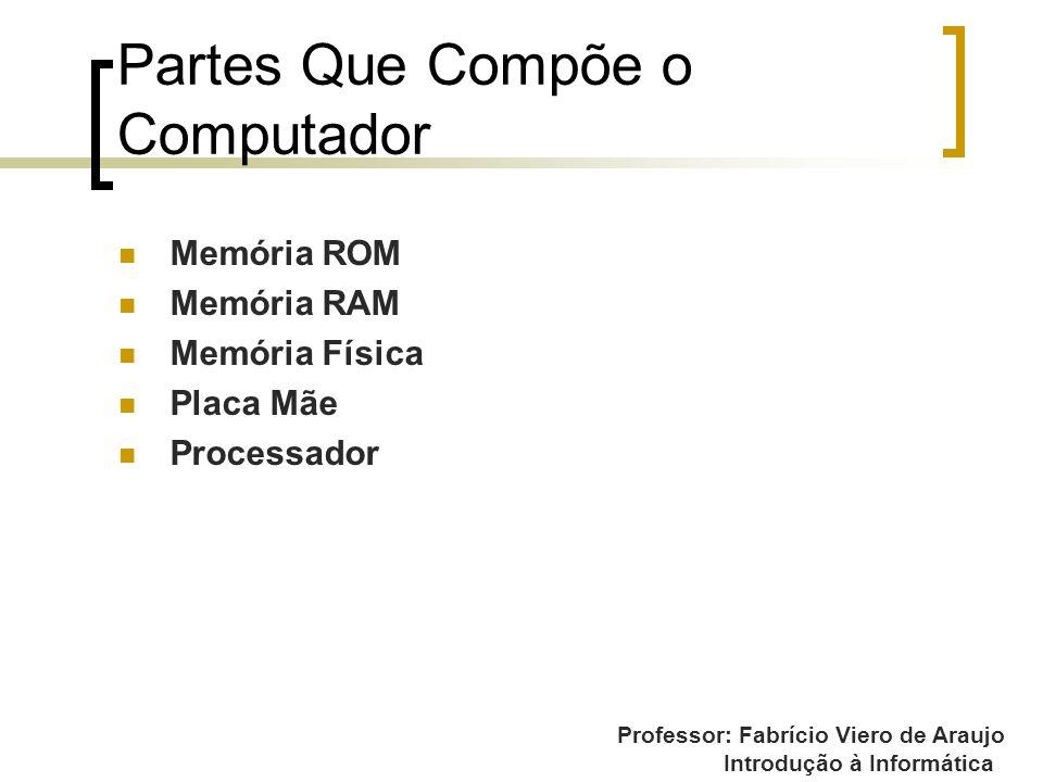 Professor: Fabrício Viero de Araujo Introdução à Informática Partes Que Compõe o Computador Memória ROM Memória RAM Memória Física Placa Mãe Processad