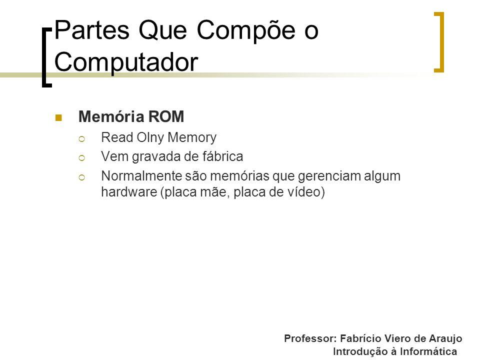 Professor: Fabrício Viero de Araujo Introdução à Informática Partes Que Compõe o Computador Memória ROM Read Olny Memory Vem gravada de fábrica Normal