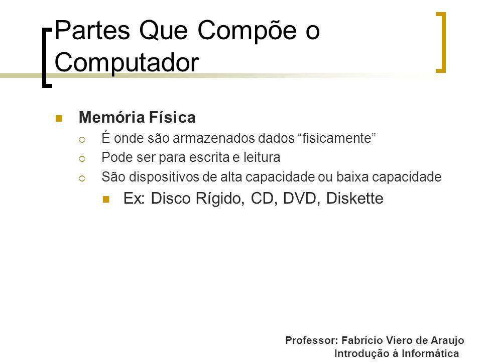 Professor: Fabrício Viero de Araujo Introdução à Informática Partes Que Compõe o Computador Memória Física É onde são armazenados dados fisicamente Po