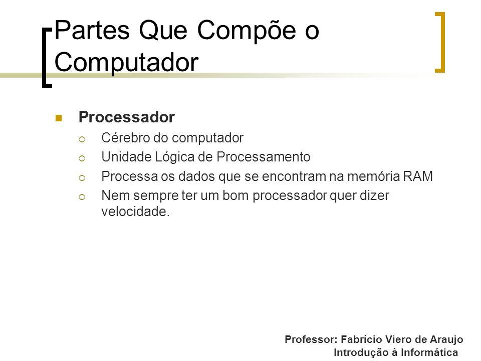 Professor: Fabrício Viero de Araujo Introdução à Informática Partes Que Compõe o Computador Processador Cérebro do computador Unidade Lógica de Proces