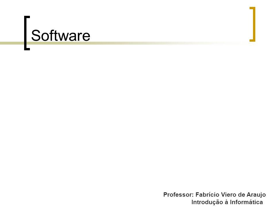 Professor: Fabrício Viero de Araujo Introdução à Informática Software