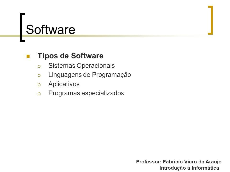 Professor: Fabrício Viero de Araujo Introdução à Informática Software Tipos de Software Sistemas Operacionais Linguagens de Programação Aplicativos Pr