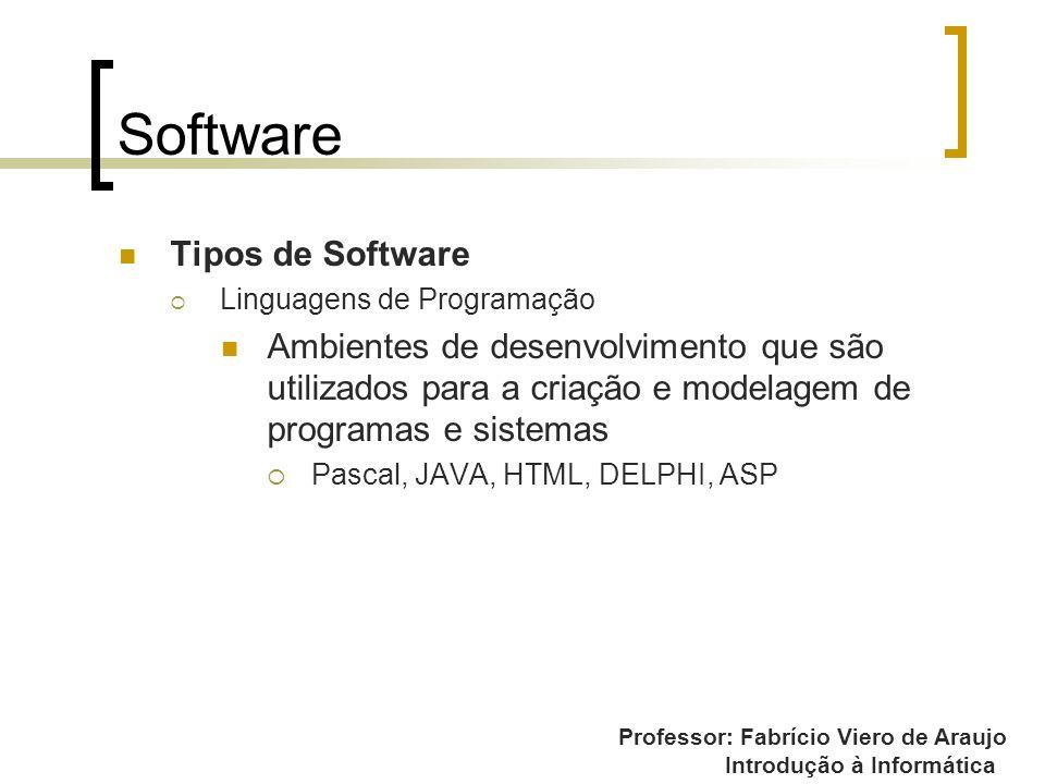 Professor: Fabrício Viero de Araujo Introdução à Informática Software Tipos de Software Linguagens de Programação Ambientes de desenvolvimento que são
