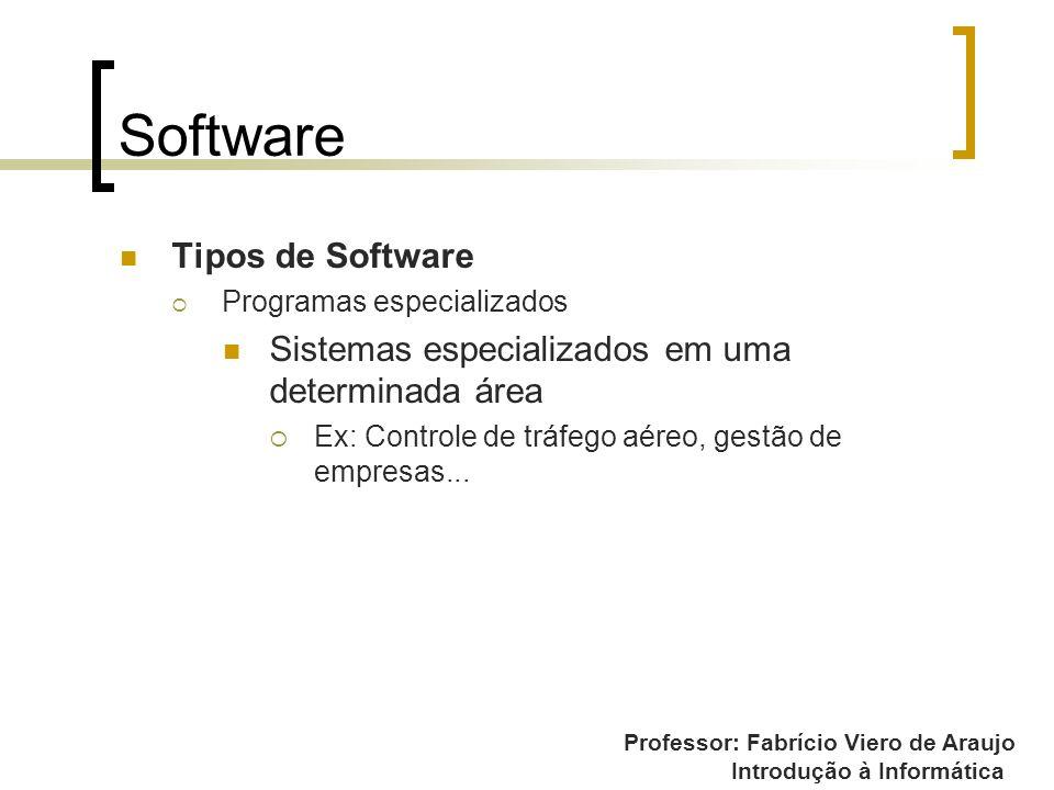 Professor: Fabrício Viero de Araujo Introdução à Informática Software Tipos de Software Programas especializados Sistemas especializados em uma determ