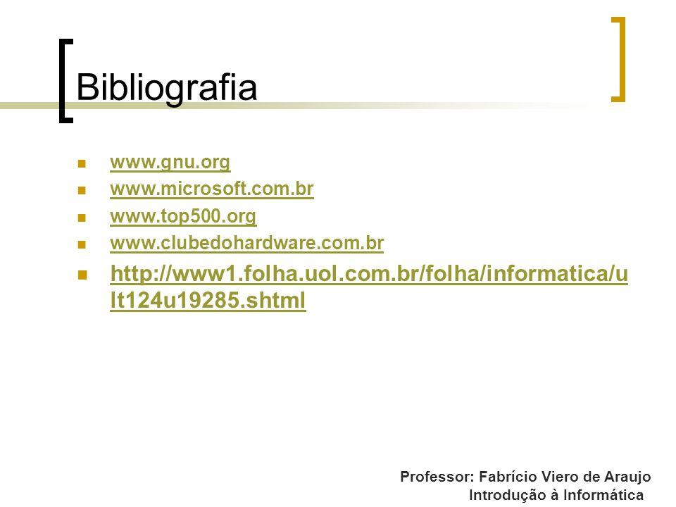 Professor: Fabrício Viero de Araujo Introdução à Informática Bibliografia www.gnu.org www.microsoft.com.br www.top500.org www.clubedohardware.com.br h