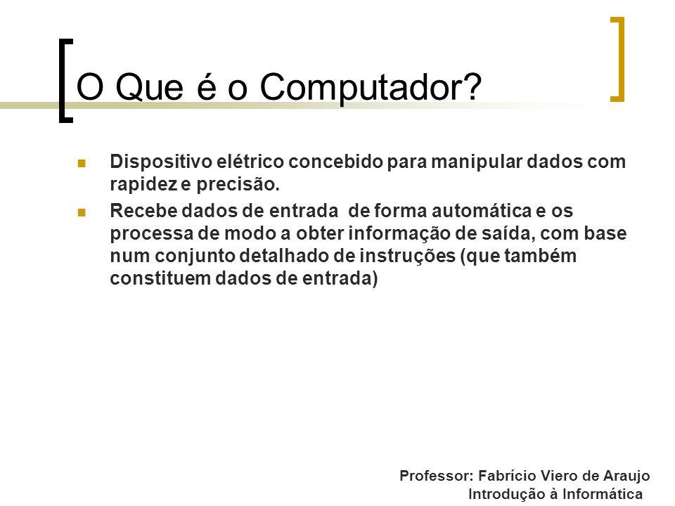 Introdução à Informática O Que é o Computador? Dispositivo elétrico concebido para manipular dados com rapidez e precisão. Recebe dados de entrada de