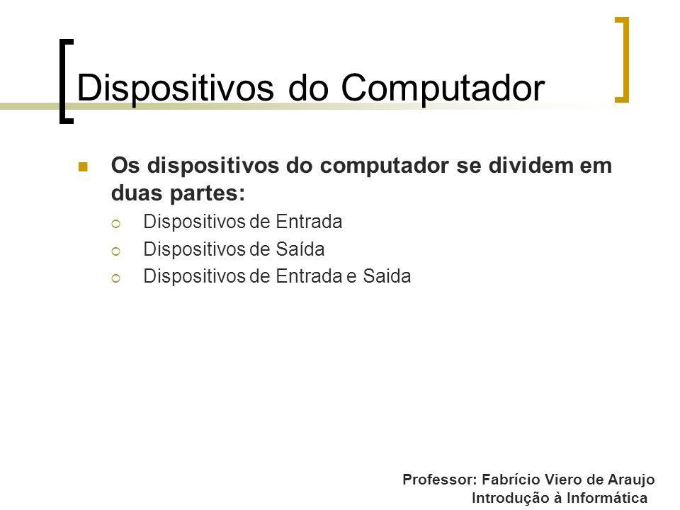 Professor: Fabrício Viero de Araujo Introdução à Informática Dispositivos do Computador Os dispositivos do computador se dividem em duas partes: Dispo