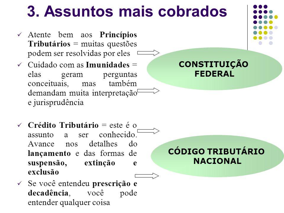 Direito Tributário tem duas grandes bases! Constituição Federal: Mais de 50% das questões são retiradas de dispositivos ou entendimentos da Constituiç