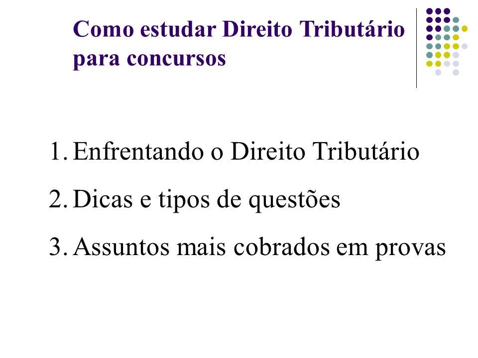 Como estudar Direito Tributário para concursos 1.Enfrentando o Direito Tributário 2.Dicas e tipos de questões 3.Assuntos mais cobrados em provas