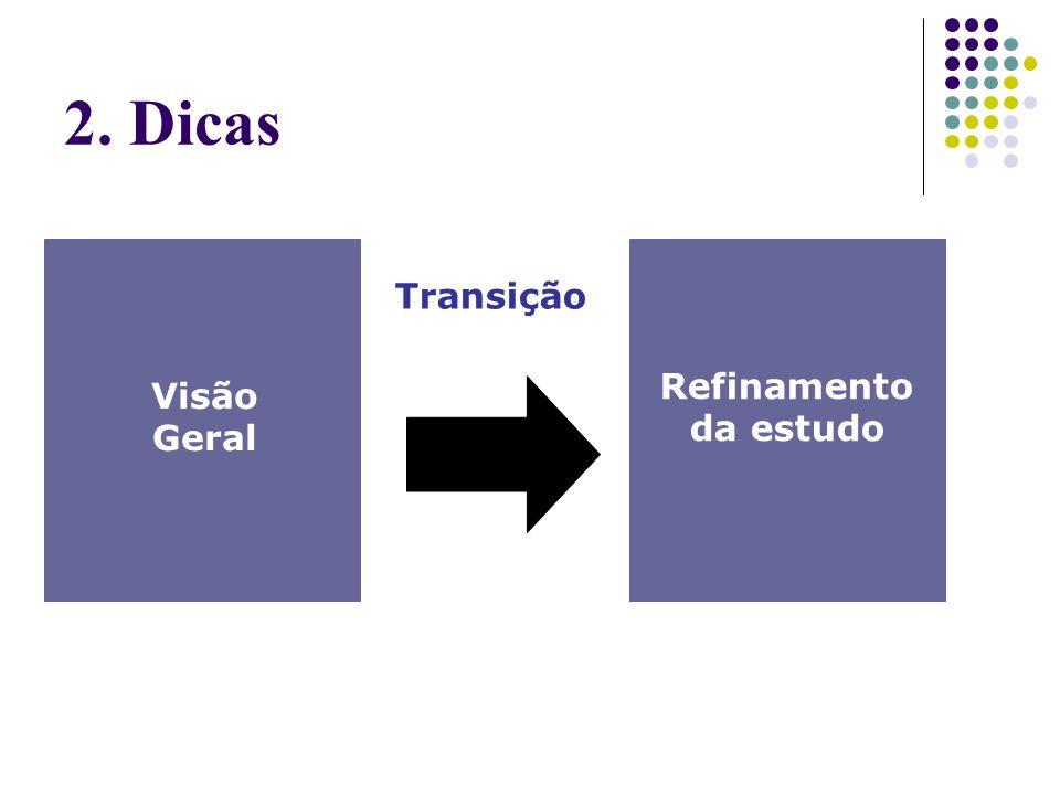Visão Geral Refinamento da estudo Transição 2. Dicas