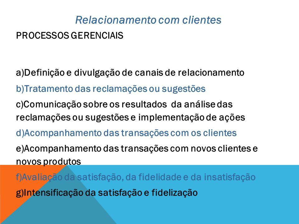 PROCESSOS GERENCIAIS a)Definição e divulgação de canais de relacionamento b)Tratamento das reclamações ou sugestões c)Comunicação sobre os resultados