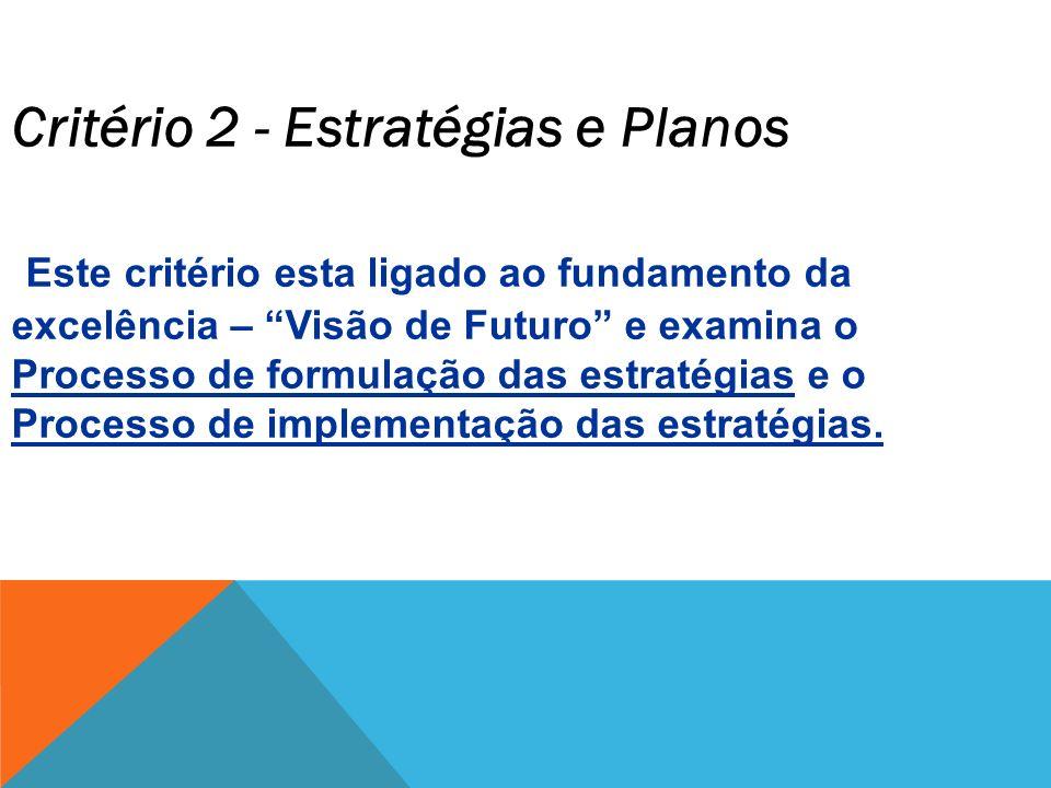 Critério 2 - Estratégias e Planos Este critério esta ligado ao fundamento da excelência – Visão de Futuro e examina o Processo de formulação das estra