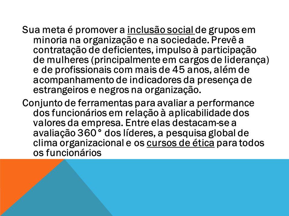 Sua meta é promover a inclusão social de grupos em minoria na organização e na sociedade. Prevê a contratação de deficientes, impulso à participação d