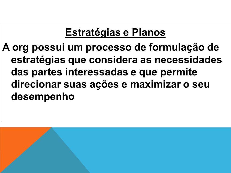 Estratégias e Planos A org possui um processo de formulação de estratégias que considera as necessidades das partes interessadas e que permite direcio