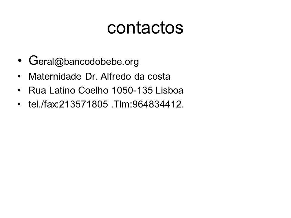 contactos G eral@bancodobebe.org Maternidade Dr. Alfredo da costa Rua Latino Coelho 1050-135 Lisboa tel./fax:213571805.Tlm:964834412.
